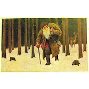 Early German Santa Claus Artist Signed Postcard ~ Forest Setting