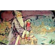 Unique Abstract Designed Santa Claus Christmas 1909 Postcard