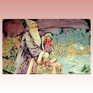 Unique Abstract Designed Santa Claus Christmas 1909 Postcard