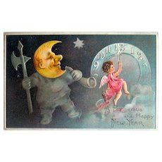 Full Face Moon Man and Angel New Year's Eve Postcard