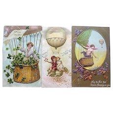THREE German New Year's Postcards ~ Hot Air Balloon & Dirigible Baskets w Children