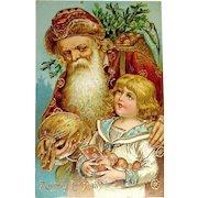 Beautiful German Christmas Postcard - Saint Nicholas, Boy, Heavy Gold