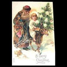 Slavic Saint Nicholas Christmas Postcard ~ Christ Child Riding a Sheep