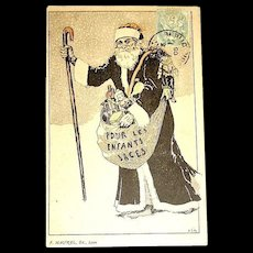 French 1905 Christmas Postcard ~ Santa Claus Dressed in Black