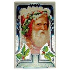 Gorgeous German Art Deco Santa Claus Portrait Postcard