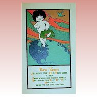Gibson Art New Year's Postcard ~ Baby Angel, Map, Unique Colors