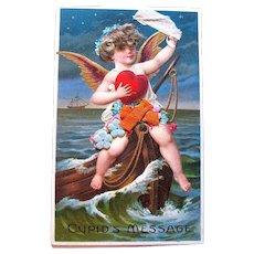 Large German Cupid Valentine Postcard — Real Hair, Cloth Flowers ~RARE