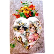 Winsch Satin Heart Valentine Postcard ~ Beautiful Ladies