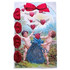 Beautiful Valentine's Day Postcard ~ Cupids, Winged Hearts, Glassine Decoration