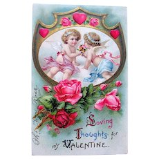 Beautiful 1912 Valentine's Day Postcard ~ Romance, Cupids, Roses