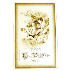 Beautiful Winsch Sepia Colored Valentine Postcard—Cupids and Broken Heart