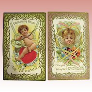 Two Pretty Valentine Postcards ~ Boy and Girl Cupids, Colorful, Heavy Gold