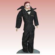 Doll House Bisque Gentleman - Father Doll, Original Black Silk Suit