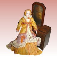 Vintage Doll House Bisque Lady / Mother Doll, Exquisite Victorian Costume