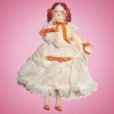 Antique Doll House Bisque Girl/Daughter - Beautiful Silk Dress