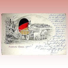 """Frohliche Ostern"" 1905 Easter Postcard ~ Humanistic Rabbit Drives Sheep Pulled Cart"
