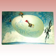 Rare Happy Easter Zeppelin Postcard ~ Propellors, Driver and Passenger