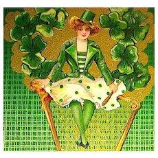 Winsch St. Patrick's Day Postcard ~ Schmucker Design ~ Pretty Lass, Gold Harp