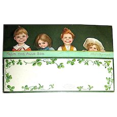 Unused Clapsaddle St. Patrick's Day Postcard ~ Children Overlook Wall