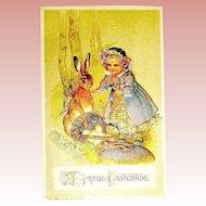 Winsch Easter Postcard ~ Rabbits - Girl ~ Egg Basket - Iridescent Glass Decor