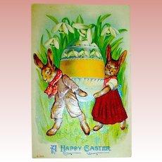 Fantasy Easter Postcard ~ Dressed Rabbits Move Huge Egg