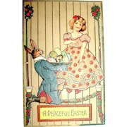 Precious Antique Easter Postcard—Dressed Rabbit's Gift to Girl