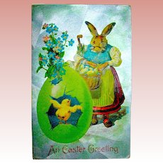 Humanized Grandmother Rabbit w Baby Chick Easter Postcard
