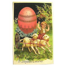 Beautiful Easter Postcard—Child, Lambs Pull Cart w Large Egg