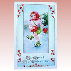 Whitney Valentine Postcard, Skater Plays Heart Shaped Banjo