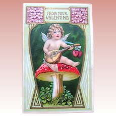 Fantasy German Valentine ~ Cupid, Lute, Magic Mushroom