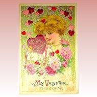 Winsch Valentine Postcard ~ Schmucker Designed Glamorous Lady Graphics