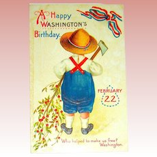 Clapsaddle IAP Washington's Birthday Postcard ~ Boy, Axe, Cherry Tree