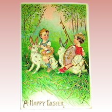 Fantasy Easter Postcard ~ unused ~ Boys Ride Rabbits, Jousting