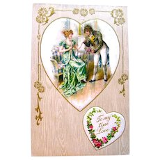Winsch Valentine Postcard—1700's Aristocrats Portrait on Silk Heart