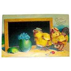 German Easter Postcard - Humanized Chicks Dressed to Play Tennis