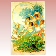 German Easter Postcard - Sheep, Cherubs, Beautiful Eggs