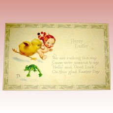 Gibson Art Co. Rose O'Neill Easter Postcard ~ Kewpie, Chick, Frog