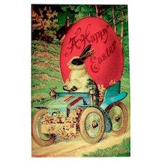 Beautiful Easter Postcard ~ Bunny in Fancy Car, Huge Red Egg