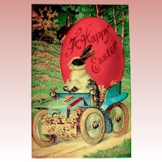 Beautiful Easter Postcard ~ Bunny in Fancy Car, Huge Red Egg