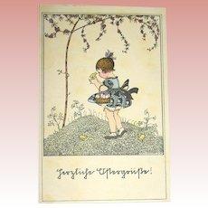 Mela Koehler Vintage Easter Postcard ~ Girl w Chicks ~ Springtime Scene