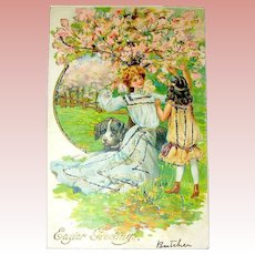 Art Nouveau Easter Postcard - Beautiful Girls & Pet Dog in Cherry Orchard