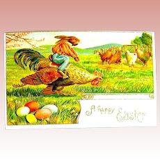 Fantasy Easter Postcard ~ Dressed Rabbit Jockey Rides Rooster