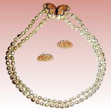 """Beautiful Unworn KJL """"Papillion"""" /Butterfly Necklace & Earrings"""