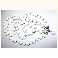 Robert DeMario Double Strand Oriental Faux White Jade Bead Necklace