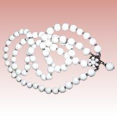Robert DeMario Double Strand Oriental Faux White Jade Bead Necklace