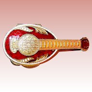 Gorgeous Miniature Instrument For Your Fashion Doll - Guilloche Enamel w Crystals