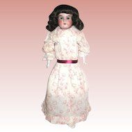 Armand Marseille 370 Doll w Burgundy Floral Designed Dress, Tall Red Ruffled Bonnet