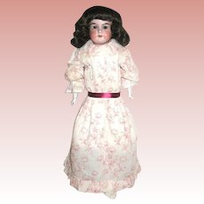 Armand Marseille 370 Doll w Burgundy Floral Designed Dress, Tall Red Ruffled Bonnet
