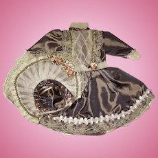 "Unworn 12"" Brown Lace Trimmed Iridescent Doll Dress w Matching Bonnet"