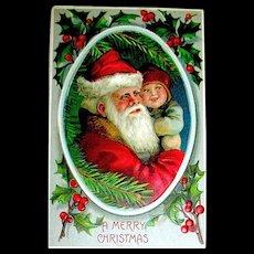 Santa Claus Holding a Toddler Christmas Postcard ~ B.W. Germany